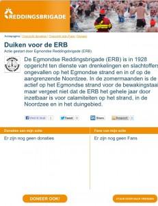 screenshot actiepagina - duiken voor de erb